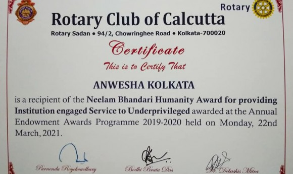 Award from Rotary Club of Calcutta
